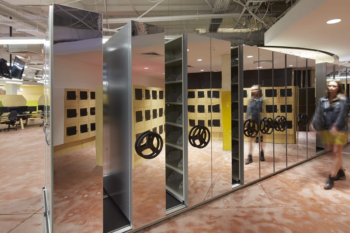 CSM Storage Solutions - Mirrored Rolling Storage Unit - HASSELL