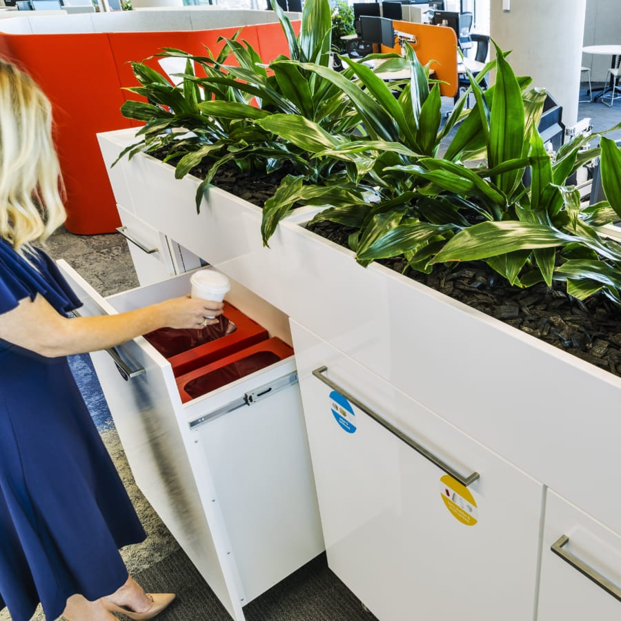 Office Recycling Station and Planter
