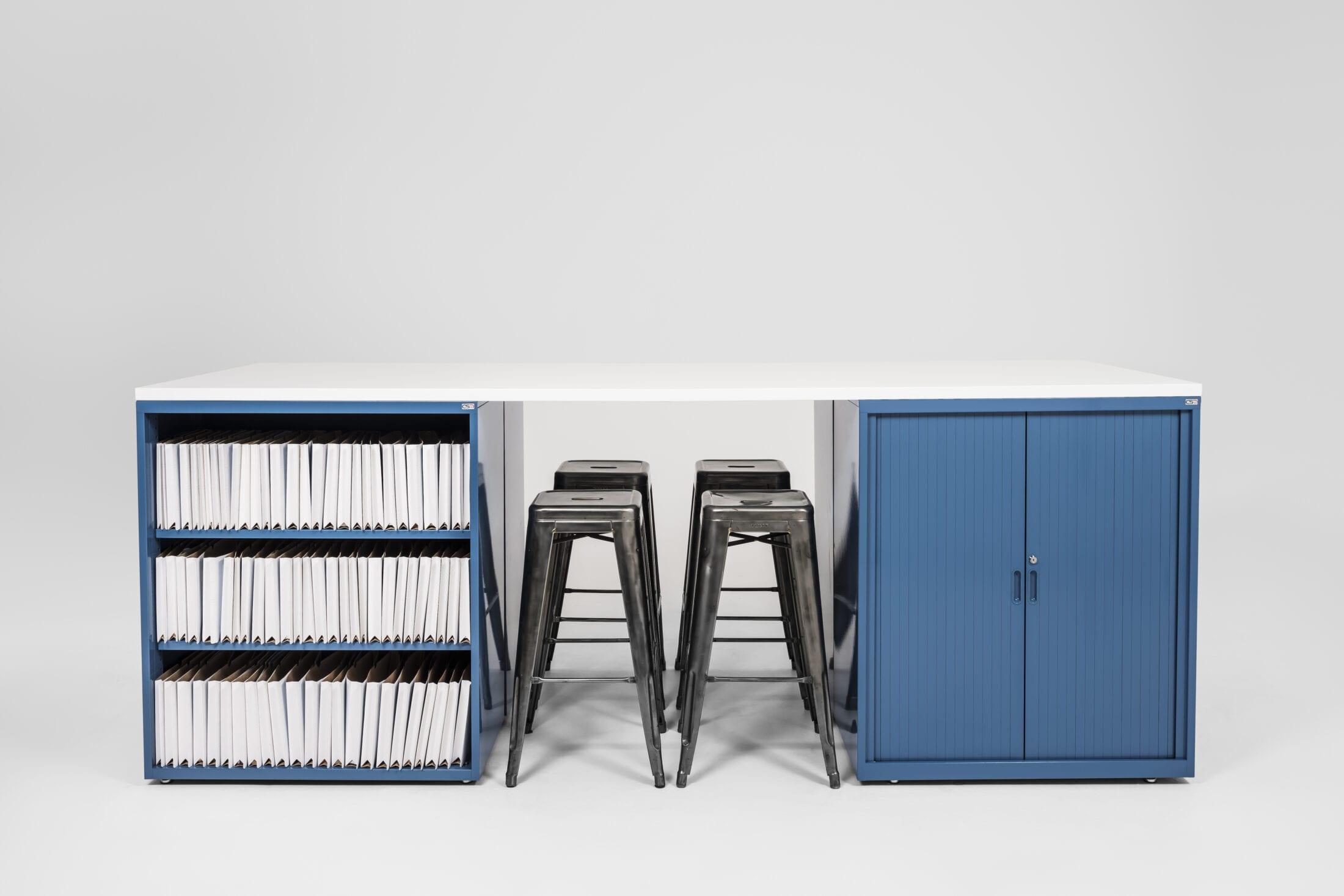 Cabinet and Open Shelf Workstation